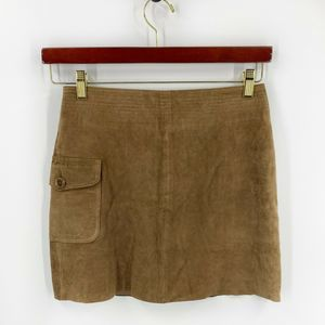 J Crew Mini Skirt Size 2 Brown Suede Leather NEW